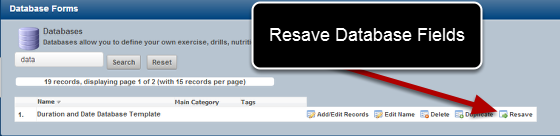 A system Builder can now resave Profile and Database records using the Resave Button