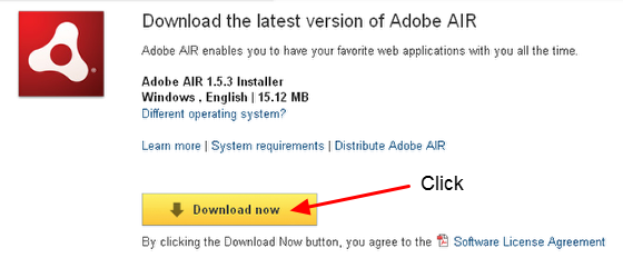 "8.1 The Adobe AIR program will open in a new Window/Tab. Click the ""Download"" button"