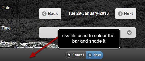The custom CSS file is used to colour and style the buttons or heading bars