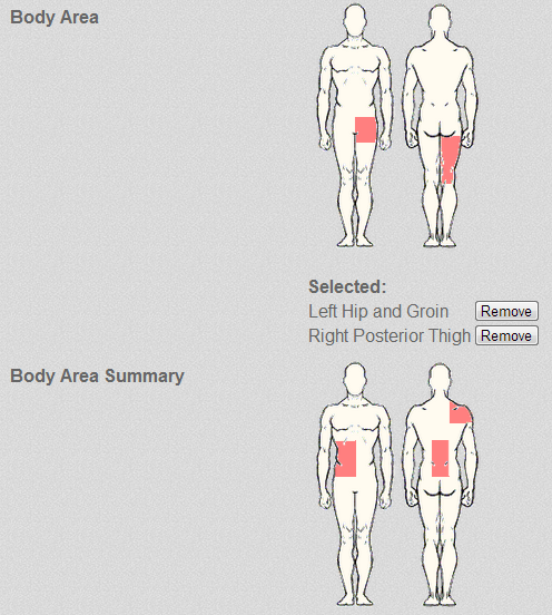 You can now select body diagram parts on the body diagram and body diagram summary field. Previously there were not selectable on the iPad App