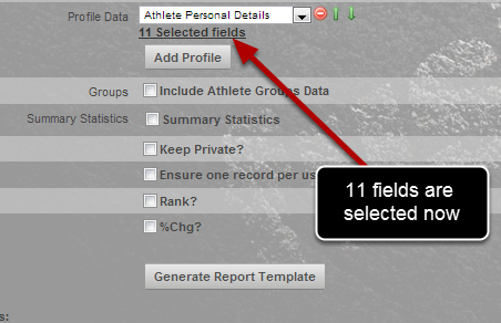 You can see that only 11 fields from the Athlete Details Profile Form will pull through into the Excel Report (previously there were 21).
