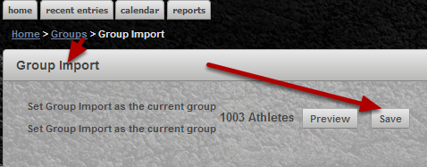 On the application, choose the group of athletes that you want to run a Profile Report For