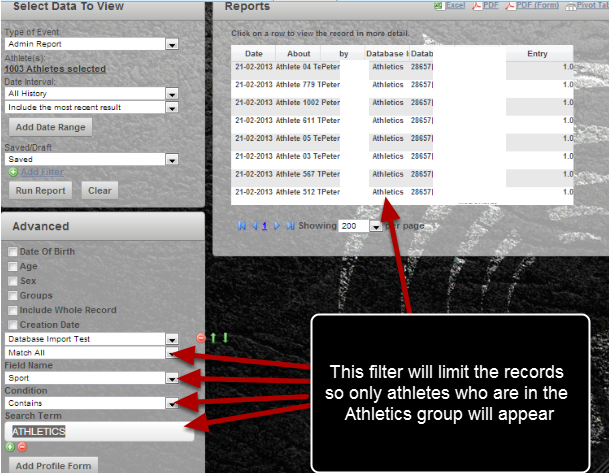 Use the Filter to show which athletes have this specific search parameter. E.g. Sport =Athletics