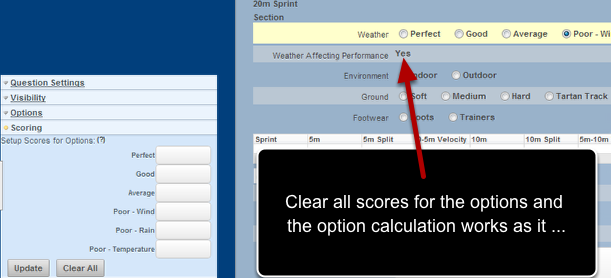 Removing the scores from options used in option calculations enables the option calculation to work correctly.