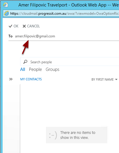 Enter the email address to which emails will be forwarded