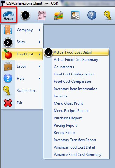 Accessing Actual Food Cost Detail Report