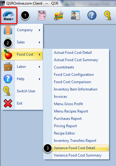 Accessing Variance Food Cost Detail Report