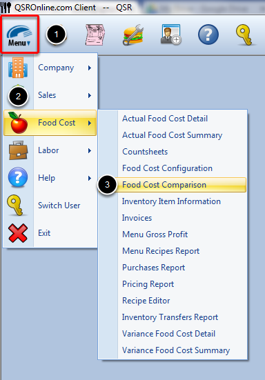 Accessing Food Cost Comparison Report