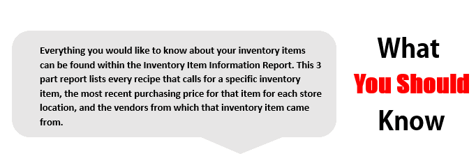 Inventory Item Information Report