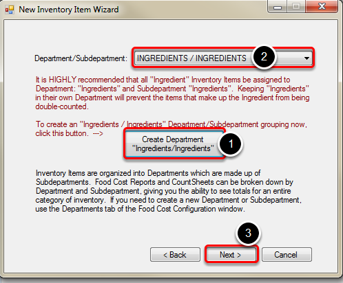 Selecting Department and Subdepartment