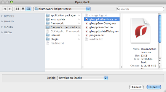 Add glxappAuthenticate Substack to application Stack