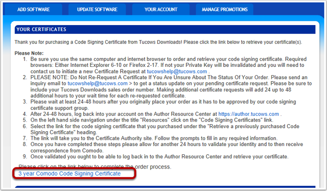 Start Comodo Code Signing Certificate Process