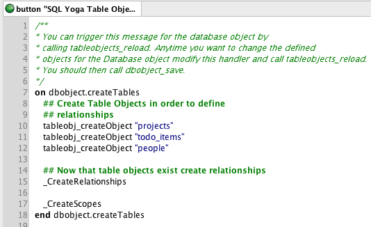 The dbobject.createTables Message