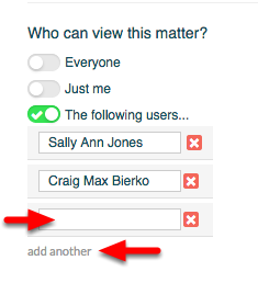 "4a.  To allow specific  users to access the matter, click ""add another"", and enter each user permitted in the open field."