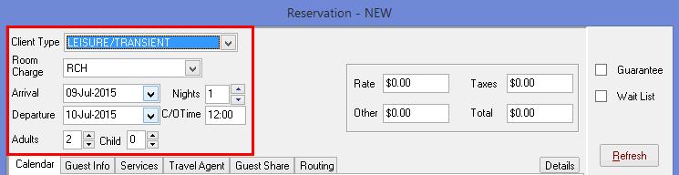 Step 2 - Entering reservation details
