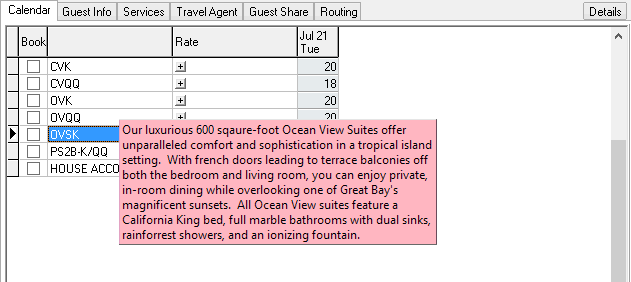 Viewing Room Type Descriptions during the Reservation process