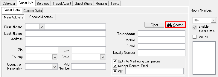 Search past guest profiles