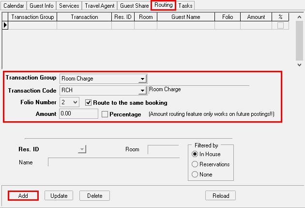 Scenario 2: Setup specific Transaction Codes to transfer to a specific Folio # on the same Guest Folio