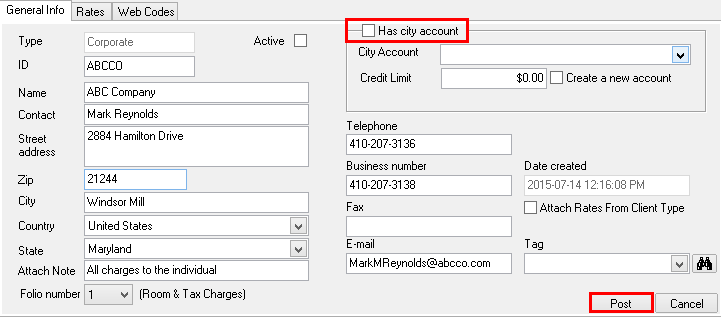 Detach the associated City Ledger Account