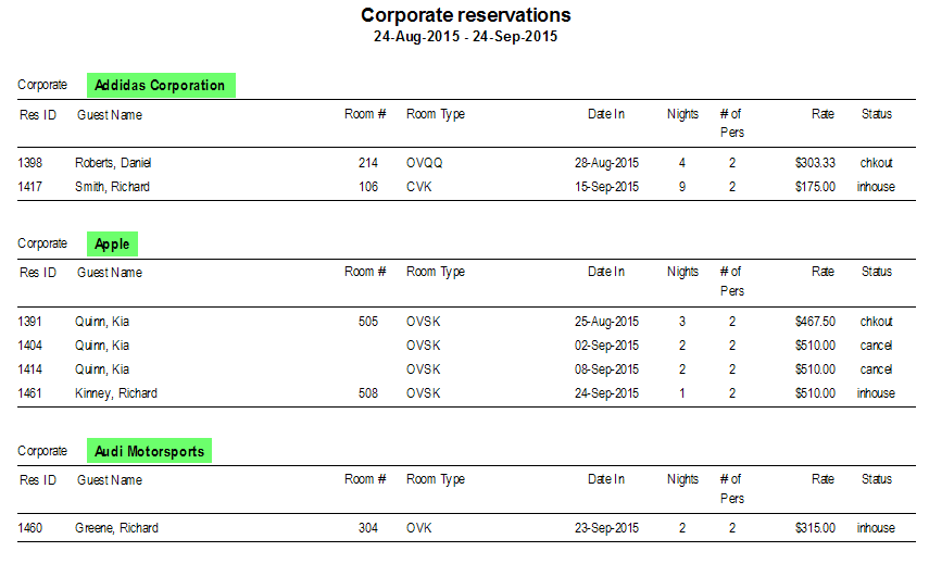 Corporate Reservations