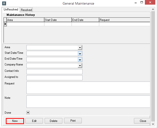 Creating a Maintenance Request