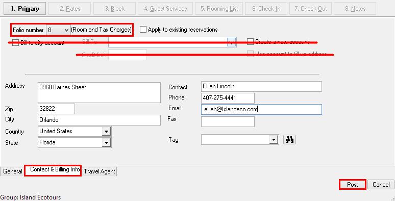 Contact & Billing tab