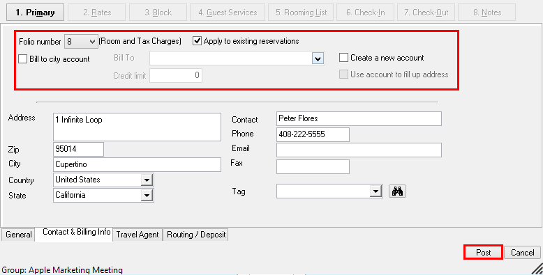 6. Change City Ledger Account Billing to House Account Billing