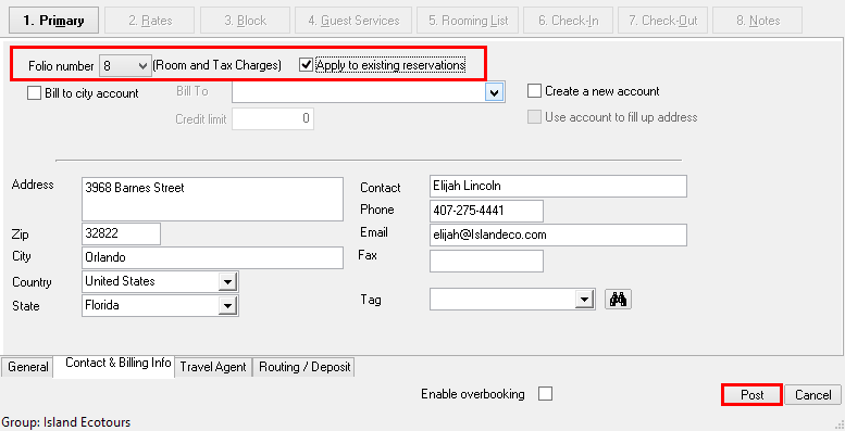 1. Change Individual Billing to House Account Billing