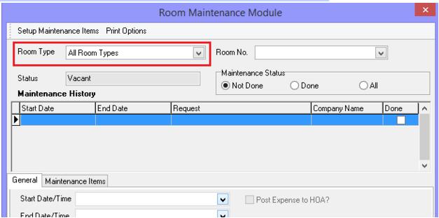 Maintenance Module Room Type Search