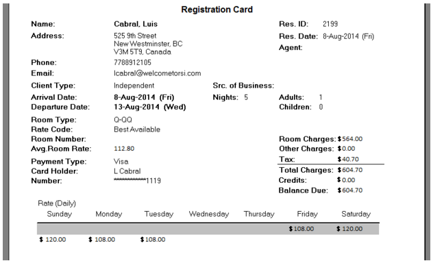 Registration Cards can now displays a Daily Rate Breakdown