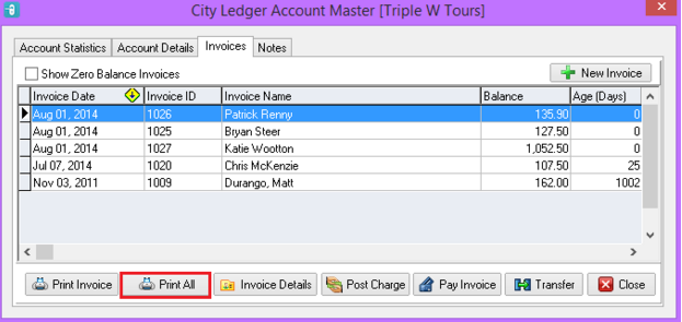 Print ALL Invoices that Form a Statement (in Default Format)