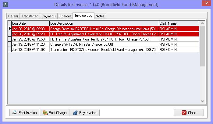 Invoice Log tab