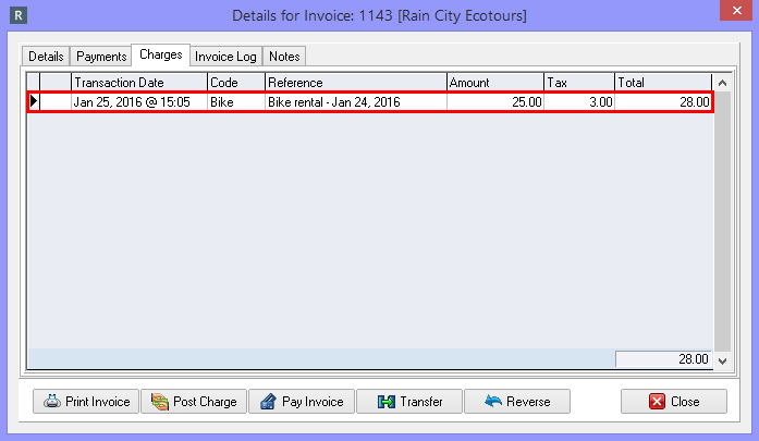 Reviewing charges from the Details for Invoice Screen