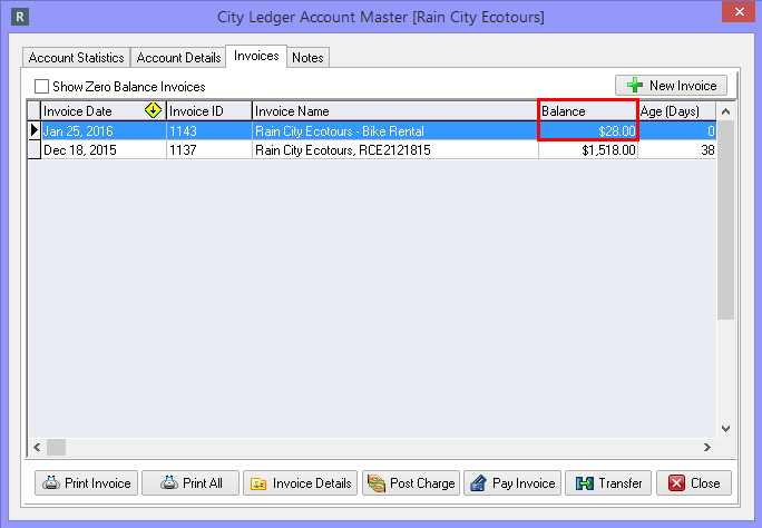 Reviewing charges from the City Ledger Account Master Screen