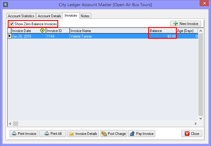 Viewing Paid Invoices from the City Ledger Account Master