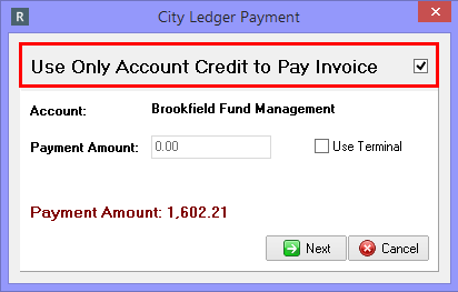 Using Only Account Credit to Pay Invoice
