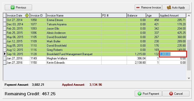 Adjusting the Applied Amount (optional)