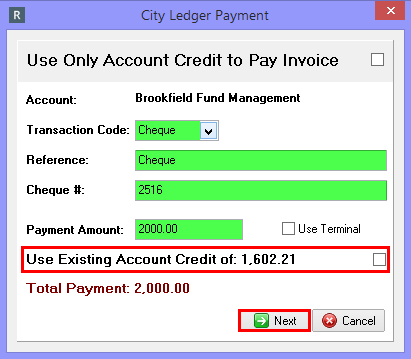 Combining Account Credit with another Method of Payment