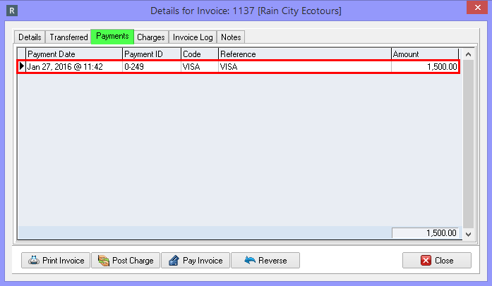 Viewing Paid Invoices from the Details for Invoice Screen