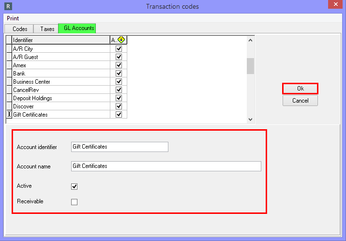 Transaction Codes and GL Accounts