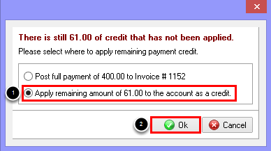 Apply Remaining Amount to the Account as a Credit