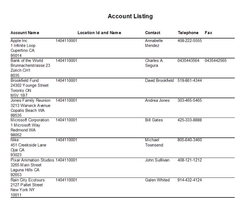 Account Listing