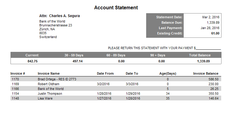 Statement for Selected Account