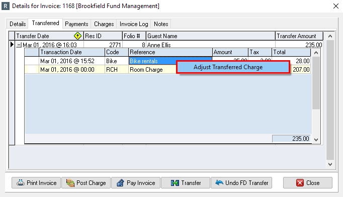Adjust off the Transferred Charges