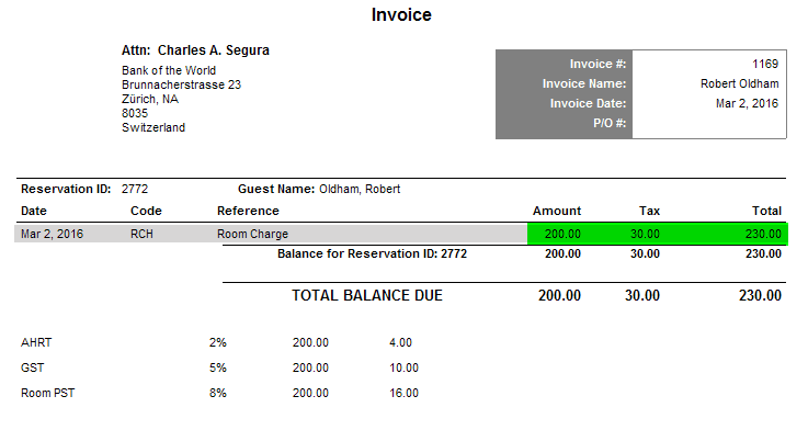 Viewing the Invoice