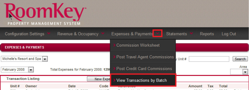 Viewing Transactions by Batch