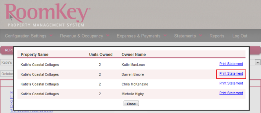 Owner Statement Summary for Owners with Multiple Units