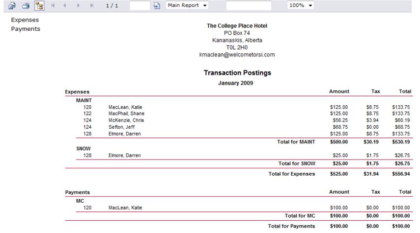 Transaction Posting Summary