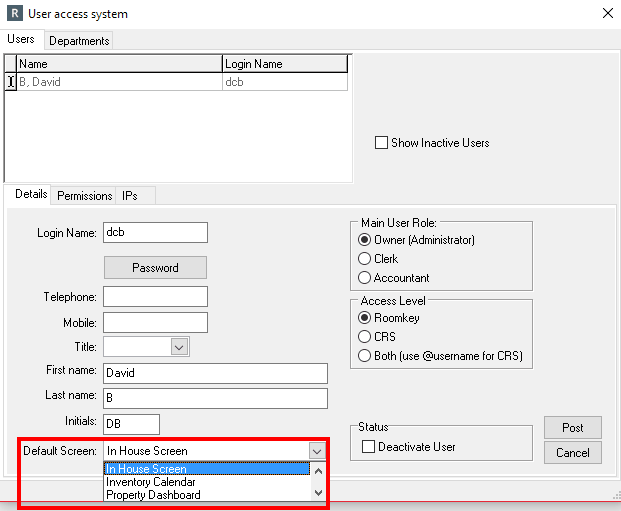 Setting a Default Login Screen