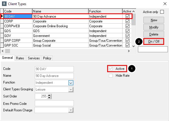 Deactivating a Client Type